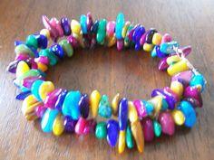 Colorful, Mother of Pearl, Copper Memory Wire Bangle Bracelet, Unique, Fun, Multi Color, Shiny, MOP, Cuff, Dual KAREKjewelry   $26.00 USD + US Shipping $2.50  #craftshout 03262015