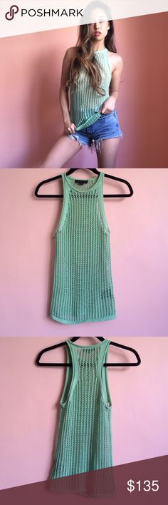 Alexander Wang Mint Open Weave Knit Tank So fresh and so clean is this Alexander Wang Spring 2011 mint open weave knit tank. Features a high crewneck, halter cut sides, racerback and rolled edges. Wear with denim cutoffs and a little bra underneath. MSRP $400. 100% cotton. Fits true to size XS. No returns allowed. Please ask all questions before buying. IG: [at] jacqueline.pak #alexanderwang Alexander Wang Tops Tank Tops