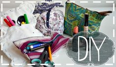 DIY Pencil Case & Makeup Bag || No Sew & Sew   #DIY #Nosew #PencilCase