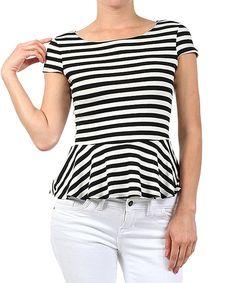 J-Mode USA Los Angeles Black & White Stripe Peplum Top by J-Mode USA Los Angeles #zulily