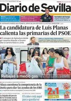 Los Titulares y Portadas de Noticias Destacadas Españolas del 2 de Julio de 2013 del Diario de Sevilla ¿Que le parecio esta Portada de este Diario Español?