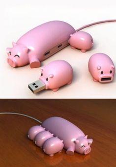 Compre eletrônicos com desconto no Busca Descontos!  #pendrive #criativo #porco #tecnologia