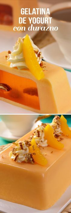 Prepare this fun yogurt gelatin with peach. A crystalline center of peach jelly and nuts. This delicious gelatin will surprise you when it comes to cutting it and sharing it with your guests. Jello Desserts, Jello Recipes, Best Dessert Recipes, Yogurt Recipes, Kombucha, Cooking Time, Cooking Recipes, Puerto Rico Food, No Cook Meals