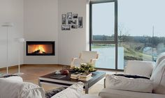 Contemporary corner fireplace (wood-burning closed hearth) - G-50 R - ROCAL Flush mount
