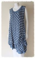 Lagenlook ruched linen tunic dress in blue fits 12-16