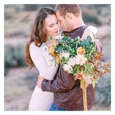 """""""Life starts all over again when it gets crisp in the fall."""" - F. Scott Fitzgerald  See more of this gorgeous autumnal romance on the blog!  #filmisnotdead #fineartweddings #fineartphotography #desertwedding #arizonadesert #arizonawedding #ralphlauren #fallwedding #bouquet #weddinginspiration #fallfashion  Captured by @melissajill Styling and floral by @carteblanchedesign Dress by @ralphlauren Ribbon by @silkandwillow MUA: Mariana Marie Film developed at @photovisionprints by adornmagazine"""