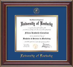 University of Kentucky - Diploma Frames :    W/Seal - Royal Blue on Gold Mat BA/MA