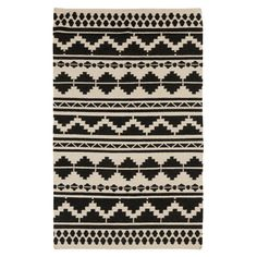 Showcasing a Southwestern-inspired motif in gray and caviar, this hand-woven wool rug adds a pop of pattern under your dining room table or in the entryway.