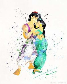 Aladdin And Jasmine Aladdin Type Print Inkist Prints - Aladdin And Jasmine Aladdin Posters By Inkist Prints This Unique Watercolor Art Print Is A Perfect Decoration For Any Nursery Room It Would Also Be A Great Wall Art For Kids Room And Will Bring Bac # Film Disney, Disney Art, Aladdin Poster, Aladdin Art, Aladdin Tattoo, Watercolor Disney, Watercolor Art, Disney Drawings, Cute Drawings