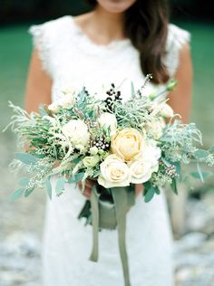Green and Ivory Summer Bouquet | Melanie Nedelko Photography | A Lush Midsummer Wedding on the River in Fresh Berry and Mint