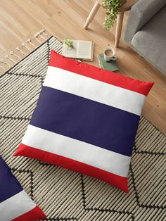 Flag Of Thailand. Throw Pillows Bed, Bed Throws, Floor Pillows, Decorative Throw Pillows, Cushion Covers, Duvet Covers, Thailand Flag, Buy Flags, Block Wall