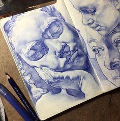 A Level Art Sketchbook, Arte Sketchbook, Drawing Sketches, Art Drawings, Color Pencil Drawings, Pencil Sketching, Portrait Sketches, Realistic Drawings, Drawing Tips