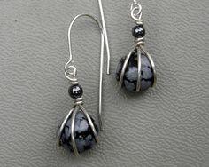 Tiny Snow Flake Obsidian Stone Earrings by nicholasandfelice