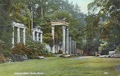 The Ruins, Virginia Water, Egham, Surrey. Roman buildings brought from the city of Lepcis Magna in Libya and re-erected in 1827-1830 by Sir Jeffry Wyatville. The ruins were a gift from the Bashaw of Tripoli to the Prince Regent.