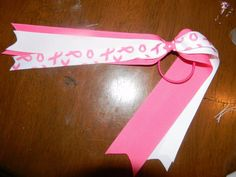 Breast cancer awareness Streamer bow  $5.00 ©2011Hairbows*N*More Find me on Facebook! Hairbows N More