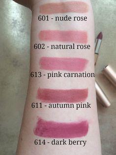 kiko velvet mat satin lipstick review swatches emilyloula 601 602 613 611 614