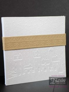 Sandie Gough - Style: Shadow Card with wrap - Die'sire Embossing Folder: Scandinavian Village And Fairisle - Centura Pearl Hint of Gold - Matt Black card, Kraft card - Big Score - Collal Tacky Glue - Acetate - Other: Neon card  - #crafterscompanion #Christmas