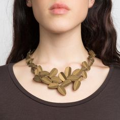 Leaves Necklace (Gold Painted)