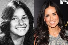 Demi Moore Moore in her freshman year at Redondo Union High, Redondo Beach, CA and Demi Moore today Comments comments Famous Child Actors, Famous Women, Famous People, Actors Then And Now, Celebrities Then And Now, Female Actresses, Actors & Actresses, Celebrity Smiles, Funny Baby Pictures