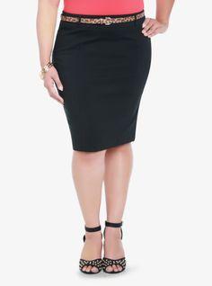 Ruffle Back Belted Pencil Skirt | Torrid