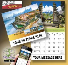 2021 World Travel Destinations Wall Calendars with your Business Name, Logo & Ad Message - low as Advertise in the homes and offices of people in your area every day! Wall Calendars, Business Names, Travel Destinations, Promotion, Hands, Messages, App, Marketing, Logo