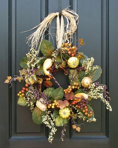 Autumn Pumpkins, Gourds and Fall Berries, Front Door Harvest Decor, Pumpkin Wreath. $70.00, via Etsy.