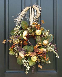Fall Wreath Autumn's Assurance of Pumpkins Gourds by twoinspireyou, $75.00