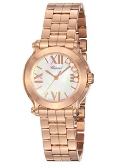 Chopard 274189-5003 Watches,Women's Happy Sport Round MOP with Floating Diamonds Dial Rose Tone Gold, Women's Chopard Quartz Watches