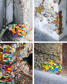 Dispatchwork is now a Worldwide project after being part of a contemporary art festival in Italy. If you feel like giving a second life to your (children's) Legos then go out and fill the holes in the buildings in your street. Take some photos and email them here.