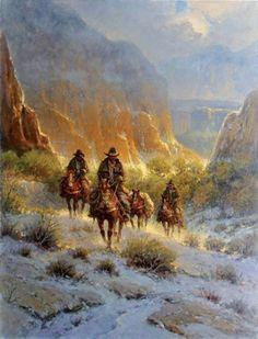 G Harvey - Trailing The Canyon Light - Canvas Giclee Western Comics, G Harvey, Cowboy Art, Cowboy Western, West Art, Cow Girl, Lighted Canvas, Le Far West, Art Graphique