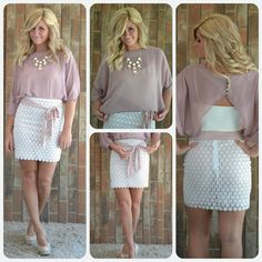 This adorable lace skirt & this blush top will be added to the Shop tab this weekend! SOOO cute together!