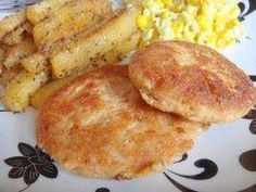 Southern Fried Salmon Patties    Ingredients  1 (14 3/4 ounce) canned salmon  1/4 cup onion, finely chopped  1/4 cup cornmeal  1/4 cup flour  1 egg  3 tablespoons mayonnaise  Directions  Open salmon and drain thoroughly. Place drained salmon in mixing bowl and flake evenly with a fork.  Add onion, corn meal, flour, mayonnaise, and egg. Stir until well blended.  Shape the mixture into patties about the size of an average burger or less.  Cook in oil in skillet over medium heat until browned…