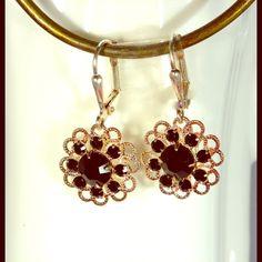 Swarovski Filigree Earrings SS Leverback Black Swarovski Filigree Earrings Crystals by Swarovski Jewelry Earrings