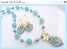 ON SALE Victorian Heart Necklace and Earrings Set by lyrisgems, $35.20