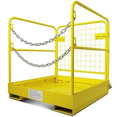 """ad: Forklift Safety Cage Work Platform Collapsible Lift Basket Aerial Rails 36″x36″ Safe: Non-slip floor, mesh back and rails help prevent falls, 4"""" toe plate; Locks into place once assembledSturdy: Heavy duty steel constructionConvenient: Double chains make getting in and out easier; Folds down for better storage http://industrialsupply.mobi/shop/forklift-safety-cage-work-platform-collapsible-lift-basket-aerial-rails-36x36/"""