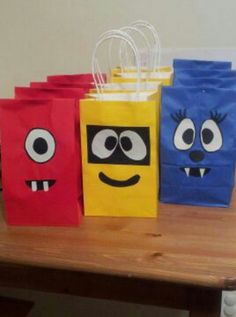 Handmade, Yo Gabba Gabba birthday party favor bags.