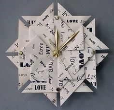 Anniversary Gift Love Origami Clock-Large from Giftedpapers on Etsy. Saved to tik-tok. 1st Wedding Anniversary Gift, Paper Anniversary, Anniversary Gift For Her, Anniversary Ideas, Anniversary Clock, Paper Clock, Diy Home Accessories, Cool Clocks, Wall Clock Design