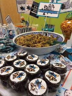 Raylen Jax's first birthday with a San Jose Sharks hockey theme - furi-hockey chexmix (furikaki chex mix)
