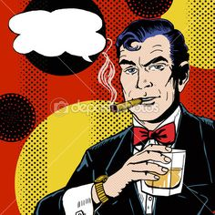 Vintage Pop Art Man with glass smoking cigar and with speech bubble. Pop Art background.Man in comic style. — Image #51915997