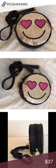 "Betsy Johnson Luv Betsey Smiley Face Crossbody measures 7"" in diameter. Retails for $48.00.  Why pay full price?  What a great Christmas gift! Bundle and save!  Betsey Johnson Bags Crossbody Bags"