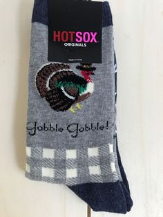 NEW Thanksgiving Socks Gobble Gobble Turkey Non-Skid Casual Crew Sz 9-11 #HotSox #Casual