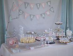 """Winter """"One-Derland"""" Dessert Table - #partytable #firstbirthday"""