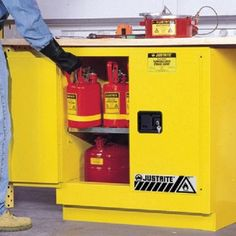 """You are buying one 22 Gallon Justrite Undercounter Sure-Grip EX Safety Cabinet for Flammables.  This cabinet is available with a manual or self-close door. It comes in Yellow, Red, Gray, or White. The dimensions are 35"""" H x 35"""" W x 22"""" D. These come with one shelf but extra shelves are available upon request. If you have any questions or want a shipping quote please feel free to contact us."""