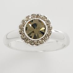 LC Lauren Conrad Silver Tone Simulated Crystal Frame Ring ($6.40) ❤ liked on Polyvore