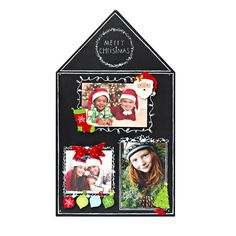 Love this festive house-shaped holiday magnetic chalkboard to display favorite photos and Christmas themed magnet sets.  Write in captions, holiday greetings and colorful details with chalk markers found at your local craft store. Santa, Stocking, Tree and Ornament Magnet Sets, Chalkboard from Embellish Your Story by Roeda.
