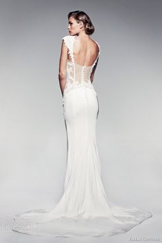 pallas couture 2014 fleur blanche angelika wedding dress cap sleeves back view train