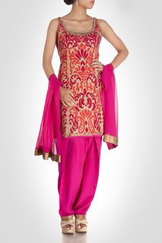 Floral Applique-Detailed Suit