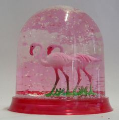 Pink Flamingo Snow Globe and yes, I want one!