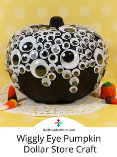 Make our wiggly eye pumpkin craft by transforming a Dollar Store pumpkin into a spooky fun Halloween decoration with some craft paint, glue and wiggle eyes. Dollar Store Crafts, Dollar Stores, Halloween Fun, Halloween Decorations, Foam Pumpkins, Acrylic Craft Paint, Homemade Candies, Pumpkin Crafts, Recycling Bins