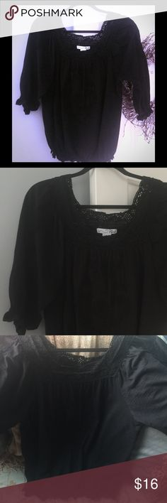 Black Boho chic blouse (boutique purchase) Worn once or twice, perfect condition (never put in dryer).  Cute with jeans and boots for a girls night out! RXB Tops Blouses